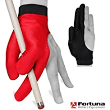 Billiard Pool Cue GLOVE by Fortuna - Classic Two-colored - For left hand - Red/Black