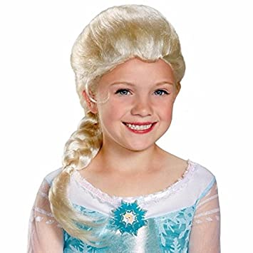 Peluca Princesa Elsa. Frozen. Talla única de niña. Largo de la trenza 35