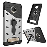 TASLAR Sniper Series Armor Bumper 360 Stand Hard Back Case Cover For Moto Z Play [Silver]