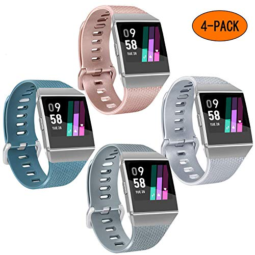 AK Bands Compatible with Fitbit Ionic Bands (4 Pack), Soft Silicone Wristbands Waterproof Straps for Fitbit Ionic Women Men, Small Large (05Gray+Slate+Rose Gold+Silver, Large)