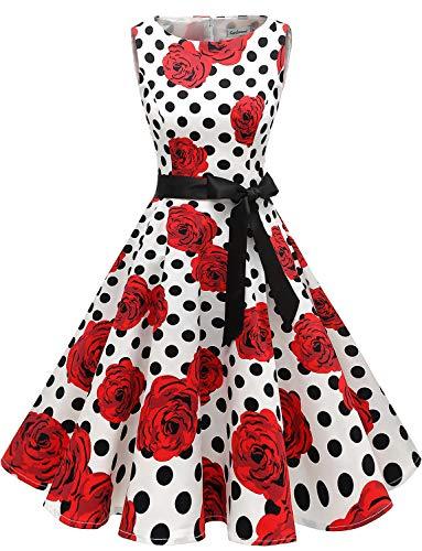 Gardenwed Women's Audrey Hepburn Rockabilly Vintage Dress 1950s Retro Cocktail Swing Party Dress White Rose Dot 2XL]()