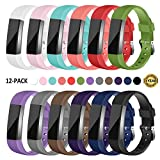 Gymu Fitbit Ace Bands for Kids,Fitbit Alta HR Bands,Fitbit Alta Bands, Replacement Wristbands with Secure Metal Buckle Clasp for Fitbit Ace Alta HR Fitness Tracker (12 PACK)