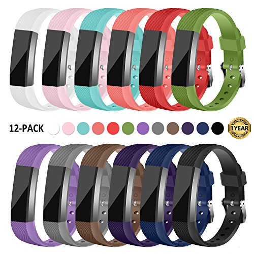 Gymu Fitbit Ace Bands for Kids,Fitbit Alta HR Bands,Fitbit Alta Bands, Replacement Wristbands with Secure Metal Buckle Clasp for Fitbit Ace Alta HR Fitness Tracker (12 PACK) by Gymu