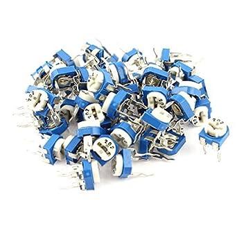 eDealMax 2K ohmios Vertical resistencia Variable el potenciómetro Azul 50Pcs: Amazon.com: Industrial & Scientific