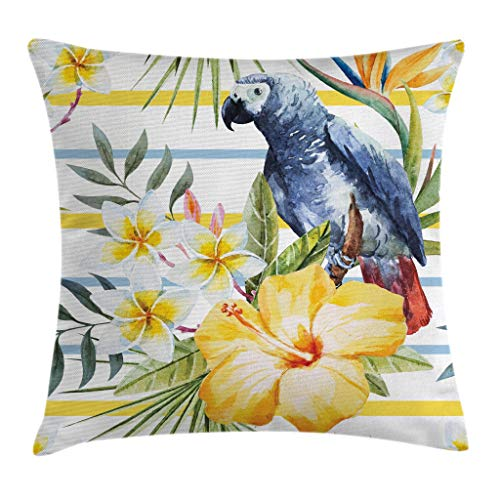 Ambesonne Parrot Throw Pillow Cushion Cover, Tropic Pattern with Parrot Orchids and Hibiscus Flowers Hawaiian Jungle Style Image, Decorative Square Accent Pillow Case, 18