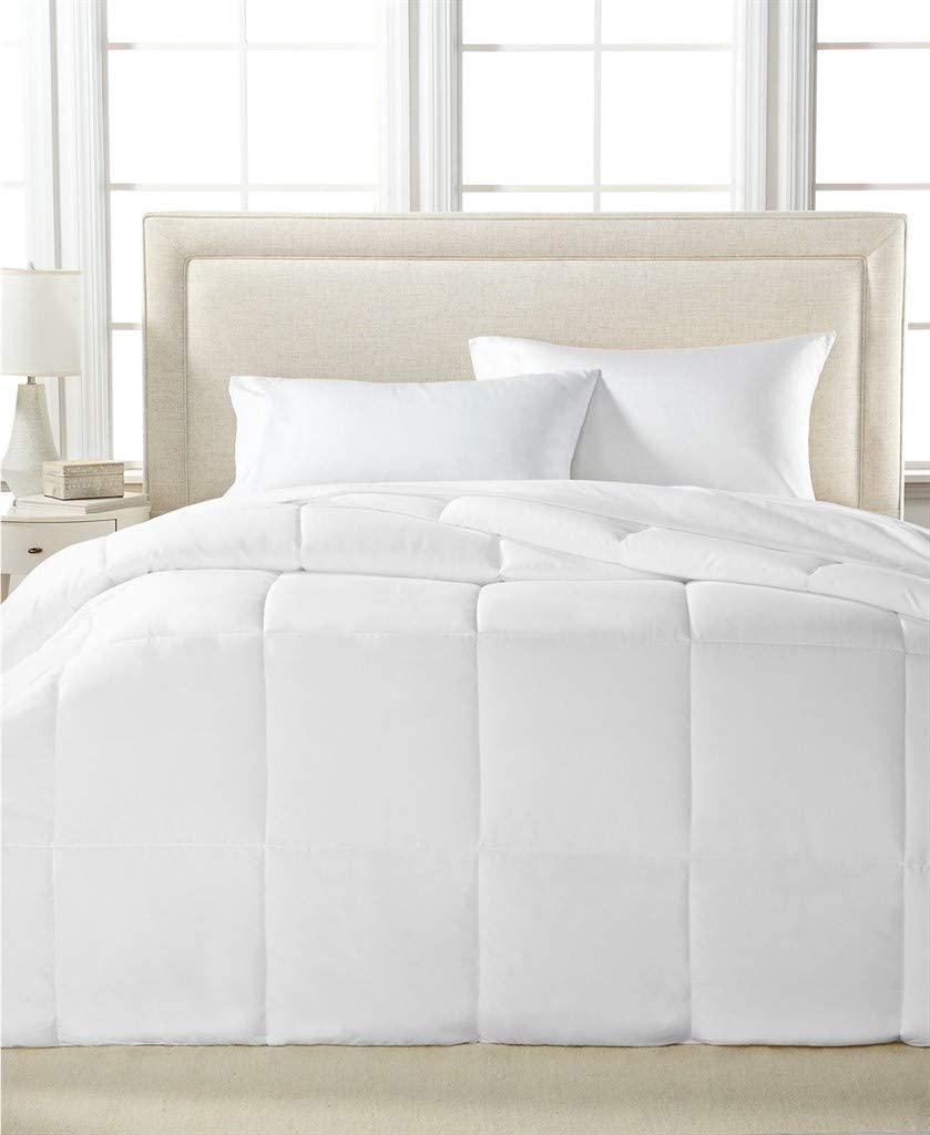 Blue Ridge Home Fashions Microfiber Light Weight Solid Down Alternative All Season Comforter - Hypoallergenic Polyester Fill, Full/Queen 86x86, White