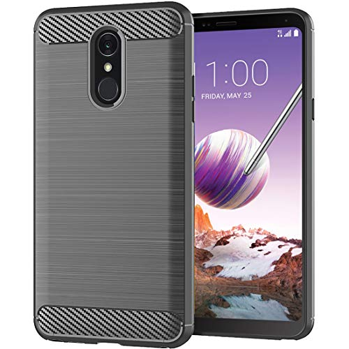 Egalo LG Stylo 4 Case,Soft Skin Silicone LG Q Stylus/LG Stylo 4 Plus/LG Stylus 4 Case TPU Anti-Fingerprint Shock Absorption Carbon Fiber Pattern Anti-Scratches Flexible (Gray case for LG Stylo 4)