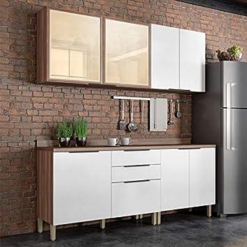Cozinha Compacta 4 Peças Donna Nesher Móveis Branco/Madeirado