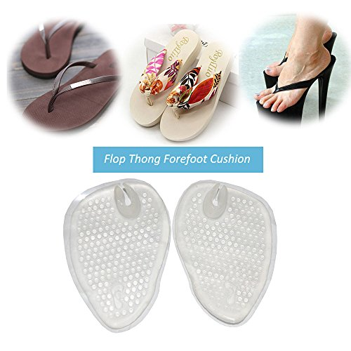 Soft Gel Cushions For Flip Flop Thong Sandals - Forefoot Padding, Ball Of Foot Insole Relief Pain & Rub, Self Adhesive£¬No slip (2 Pairs) (Flip Feet Flops)