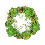 FAVOWREATH 2018 New Vitality Series Handmade 14 inch Green Succulent Plant Dry Branch Wreath For Front Door/Wall/Fireplace Wedding Autumn/Summer Floral Decor
