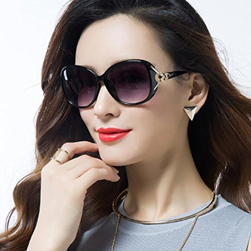 Modernas Eyewear Grandes Sunglasses Gafas LINNUO Clásico de Sol Negro Polarizadas Mujer Oversized x6nT7qw