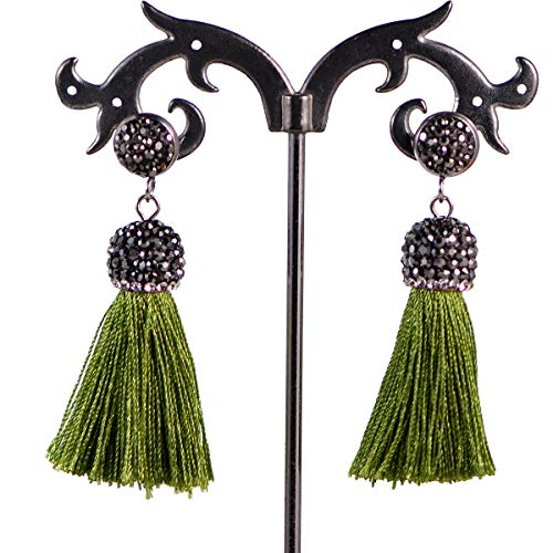 - AD Beads Fashion Crystal Silk Tassel Rhinestone Cap Fringe Dangle Earrings (17 Olive Green)