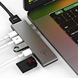 USB C Hub for Apple MacBook Pro 2018, 2017, 2016 - USBC Adapter, Premium MacBar, Thunderbolt 3 (TB3) 40GB/S data, 5K@60Hz, HDMI 4K, Type C, 2 USB 3.0, SD and Micro SD Card Reader, 7in1, Space Gray