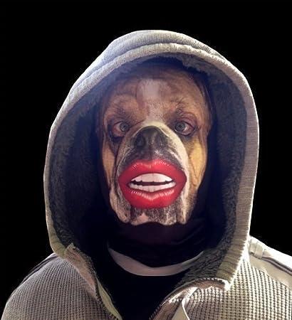 L&S PRINTS FOAM DESIGNS BullDog rojo labios divertida máscara de tela Halloween/Ciervo para fiestas