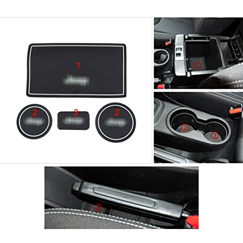 ROCCS White Interior door Cup Holder Mats For Jeep Wrangler JK 2009-2015 Anti-dust Non-slip Mat with logo