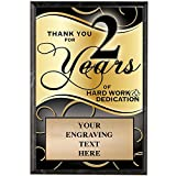 Crown Awards Corporate Plaques - 5 x 7 Thank You for 2 Years Recognition Trophy Plaque Award Prime
