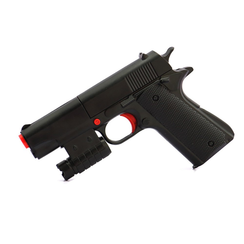 Sinmore Kid Toy Gun Innovative Dual-use Soft Gun 1:1 Scale Colt M1911A1 Rubber Bullet Pistol Mini Pistols Realistic (Black)