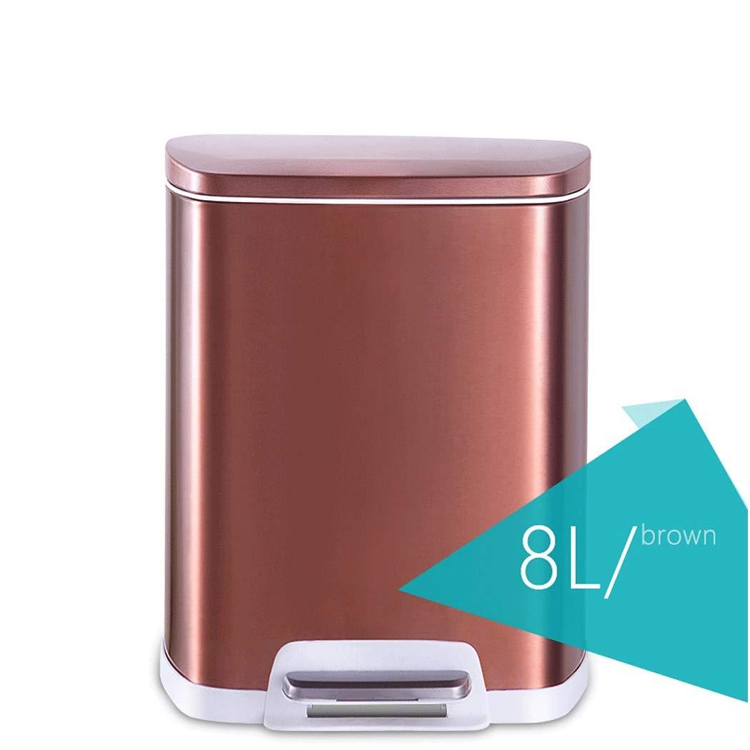カバーなしのゴミ箱ヨーロッパの居間の台所浴室の寝室のステンレス鋼のゴミ箱世帯の大きい正方形の二重管 (サイズ さいず : Brown 8L) Brown 8L  B07R1RVY1X