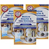Arm & Hammer Moisture Absorber & Odor Eliminator 16oz Hanging Bag, 3 Pack (6 Bags Total) – Eliminates Musty Odors & Freshens Air for Closets, Laundry rooms, Mud Rooms