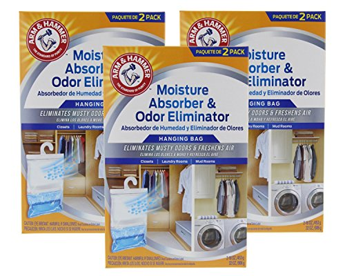 Arm & Hammer Moisture Absorber & Odor Eliminator 16oz Hanging Bag, 3 Pack (6 Bags Total)  Eliminates Musty Odors & Freshens Air for Closets, Laundry rooms, Mud Rooms