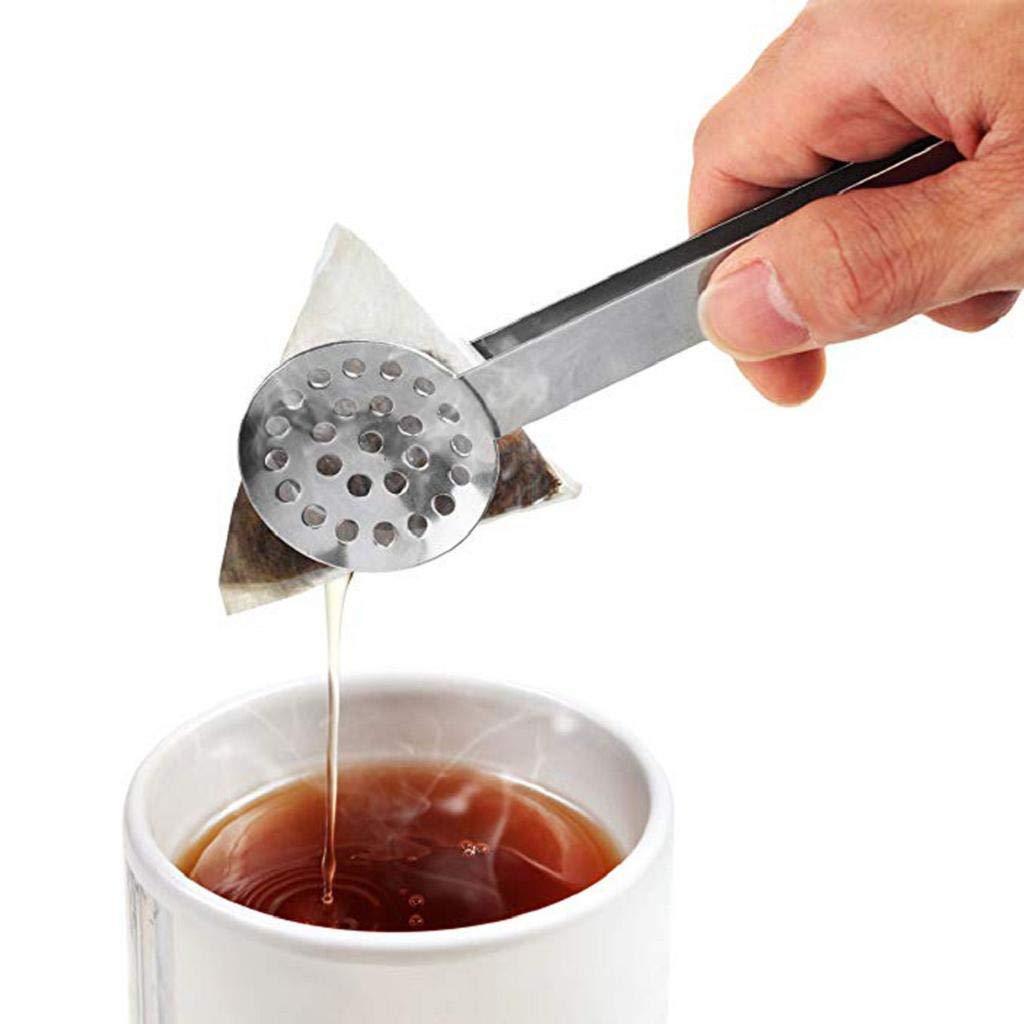 QUICKLYLY Cuchara para Bolsa De Té -Pinzas Apretar Bolsas Colador Pinzas Mango Metal Mini Clip Azúcar Cocina Bar Cubitos Hielo Herramientas: Amazon.es: ...
