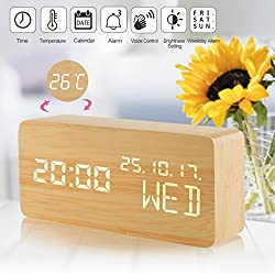 Alarm Clock, Wooden LED Electronic Smart Desk Alarm Clock, Digital Alarm Clock 3 Brightness Adjustable Voice Control, Displays Time Temperature, Cube Travel Alarm Clock for Kids, Bedroom,Home, Office