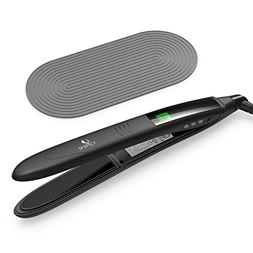 USpicy Hair Straightener, Hair Flat Iron with Heat Resistant Silicone Pad, Curved Design and MCH Ceramic Plate (LCD Display, 110V-220V Compatibility, Ergonomic Handle, 450 °F / 232 °C) by USpicy