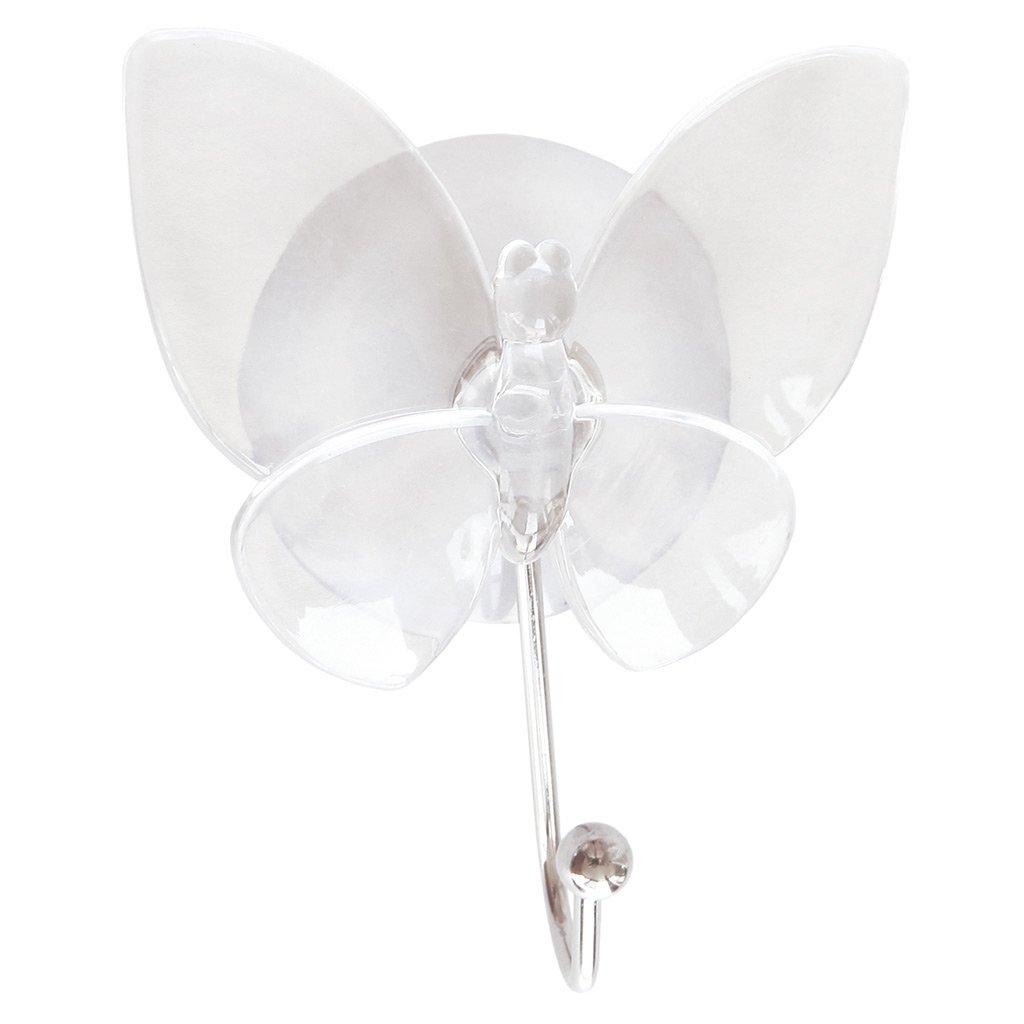 laroom 13011–Ciondolo Farfalla con ventosa, colore: trasparente