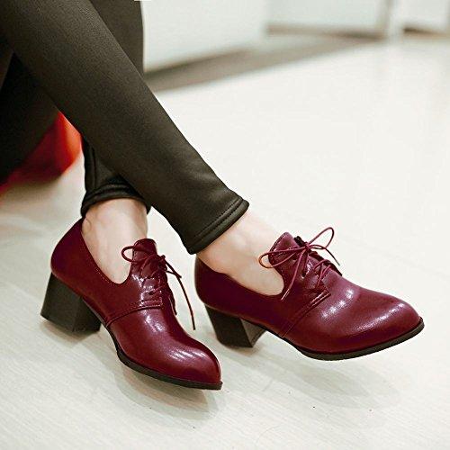 Carolbar Donna Allacciate Scarpe A Punta Tacco Retro Vintage Moda Grosso Tacco Medio Rosso Vino Rosso
