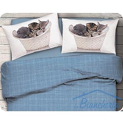 Completo sábana sábanas Naturaleza Gatos Dis. Gato azul Var.52 – matrimonio 2 plazas