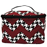 Houndstooth and Chevron Print Cosmetic Bag-black, Bags Central