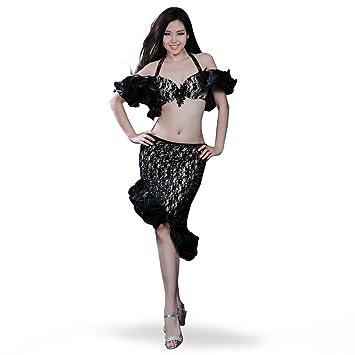 ROYAL SMEELA Grado Superior Danza del Vientre Conjunto de Falda Sujetador Sexy Falda De Cola De Pescado con Volantes De Encaje Vestido de Traje de Baile ...
