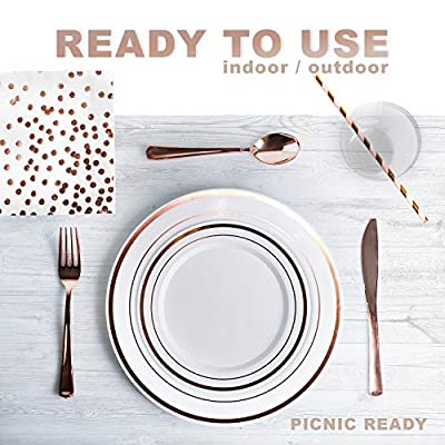 200 Piece Rose Gold Disposable Cutlery Set | Plastic Rose Gold Silverware | Heavyweight Quality Flatware | Includes 25 Forks, Spoons, Knives, 9 Oz Cups, Plates, Napkins + Straws