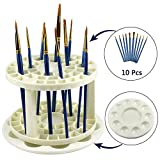 LK-Spring Paint Brush Organizer Holder with 10 PCS Artist Paint Brushes and Painting Palette Tray