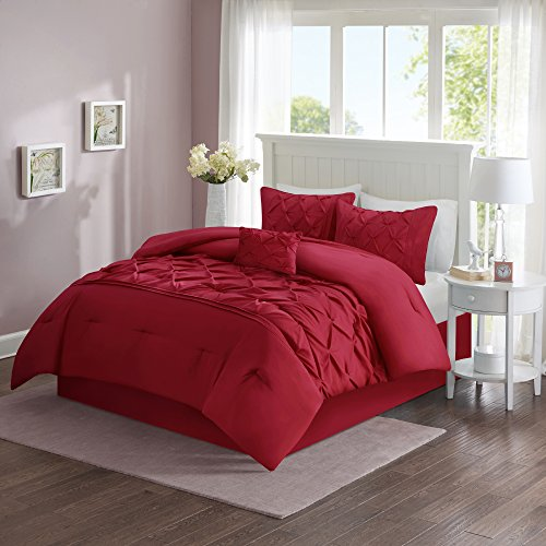 Comfort Spaces – Cavoy Comforter Set - 5 Piece – Tufted Pattern – Red – Full / Queen size, includes 1 Comforter, 2 Shams, 1 Decorative Pillow, 1 Bed Skirt Red Queen Comforter