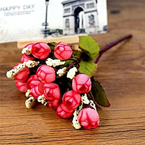 Nyalex 15 heads Mini Rose Silk Flowers artificial flower Home Party Decor for wedding small roses bouquet Christmas Decoration 68