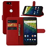 Nexus 6P Case, Premium Leather Wallet Case Cover with Stand Card Holder for Huawei Google Nexus 6P / 6 2nd Gen 2015 Phone (Wallet - Red)