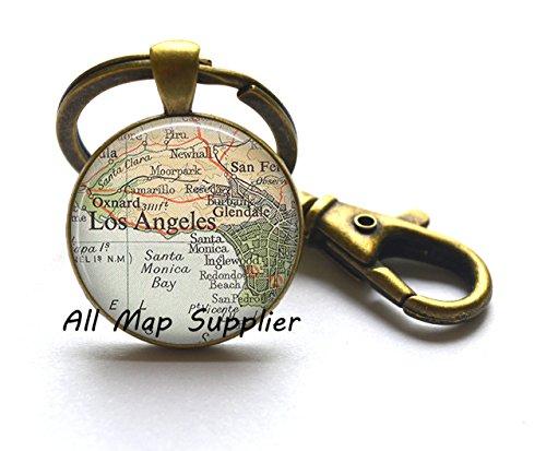 Charming Keychain,Los Angeles map Keychain, Los Angeles map jewelry, Glendale Santa Monica Burbank Oxnard, map Key Ring,A0293 Monica Charm