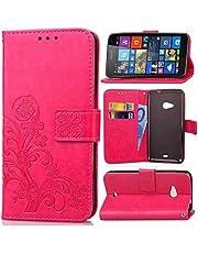 Schutzhülle Für Microsoft Lumia 535 , pinlu® Handyhülle Hohe Qualität PU Ledertasche Brieftasche Mit Stand Function Innenschlitzen Design Glücklich Klee Muster Rot