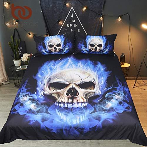 Best Quality - Bedding Sets - Flame Skull Bedding Set 3D Print Gothic Duvet Cover Blue Bedclothes Fashion Home Textiles for Boys Size AU Single
