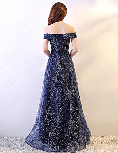 Elegant Lang Ballkleid Dunkelblau Abendkleider Schulterfrei Damen LuckyShe 5HcTWqpp