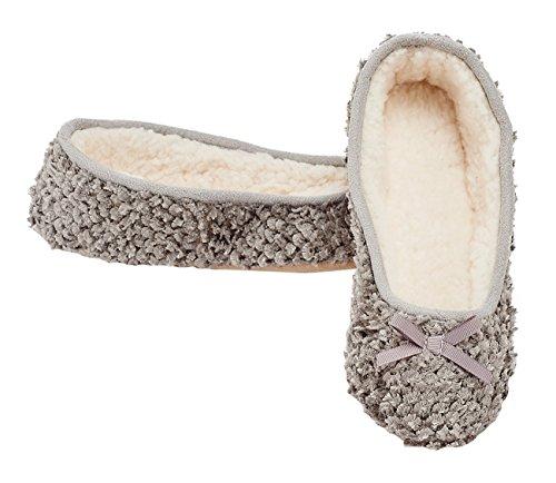 MIXIN Women's Ballerina Velveteen Soft Sole Indoor Slippers Grey US Size 8 Photo #6