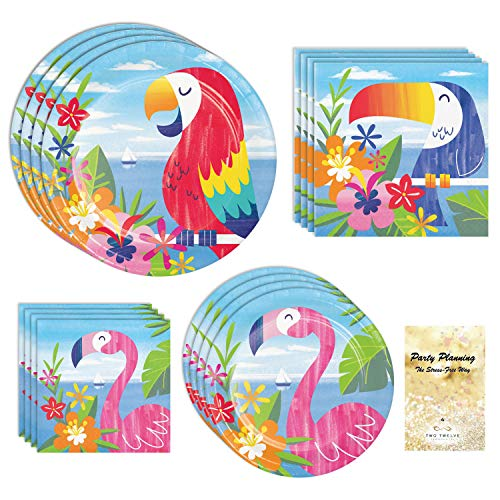 Luau Party Supplies, Flamingo and Toucan Design, 16 Guests, 65 Pieces, Disposable Paper Dinnerware, Plate and Napkin Set