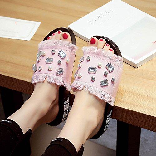 Btrada Denim Sandalen Voor Dames-kunstmatige Edelstenen Kwastjes-zomer Antislip Zachte Onderkant Open Neus Dias Schoenen Roze