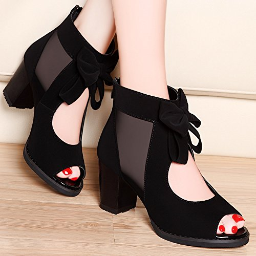 SHOESHAOGE Boca De Pescado Sandalias Gruesas con Solo Zapatos Zapatos De Mujer En Roma, con Los Zapatos High-Heel,Eu34 EU40