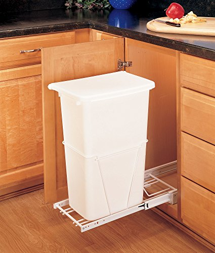 (Rev-A-Shelf - RV-12PB-50 - Single 50 Qt. Pull-Out White Waste Container with 3/4 Extension Slides )