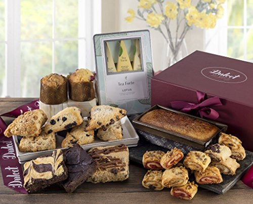 Dulcet Food Deluxe Gift Basket- Includes Scones, Cheese Brownie, Fudge Brownie, Chocolate Chip Blondie, Muffins, Pumpkin Loaf, Tea, and Assorted Flaky Rugelah. Top Gift Idea!