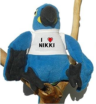 Loro azul de peluche con Amo Nikki en la camiseta (nombre de pila/apellido