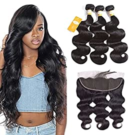 Ossilee Body Wave Bundles with Frontal Human Hair Bundles with Lace Frontal 8A Grade Body Wave Hair Brazilian Virgin Hair Ear To Ear Frontal with Body Wave Bundles (14 16 18+12 frontal, Natural Color)