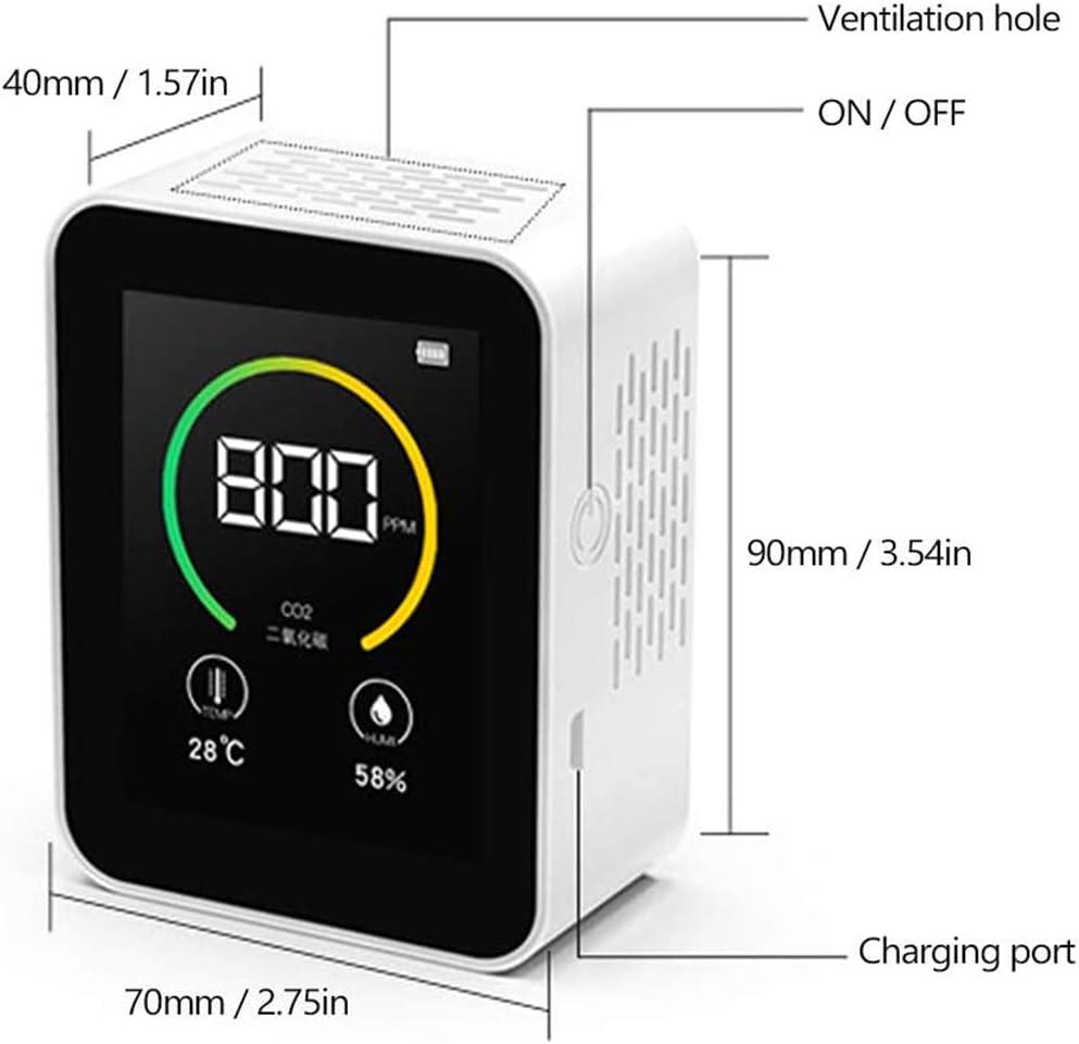 CO2 Kohlendioxid Detektor 400-5000PPM mit Temperatur-Feuchtigkeits-Anzeige Gaskonzentration Messger/ät Luftqualit/ät Nanssigy CO2 Kohlendioxid Detektor